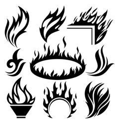 fire signs and tattoos set vector image