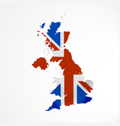 great britain flag in form of map united kingdom vector image vector image