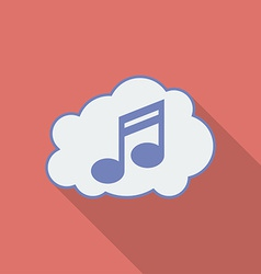 Sound cloud icon Modern Flat style with a long vector image vector image