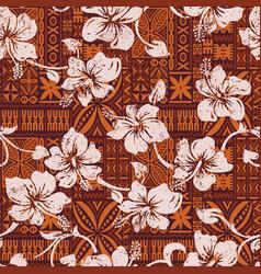 tribal vintage hawaiian hibiscus flowers wallpaper vector image vector image