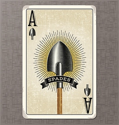 Ace spades vintage playing card vector