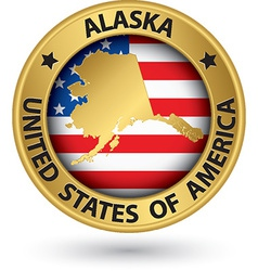 Alaska state gold label with state map vector image