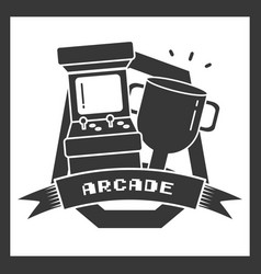 Arcade trophy star video game vector