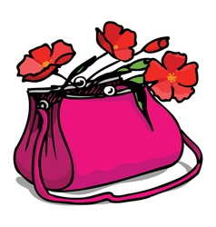 Bag and flowers vector