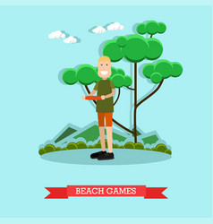 Beach games in flat style vector