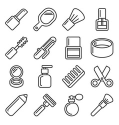 beauty and cosmetic icons set on white background vector image