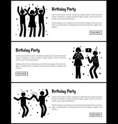 birthday party web posters set in black and white vector image