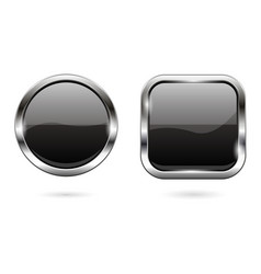 black glass buttons 3d shiny round and square vector image