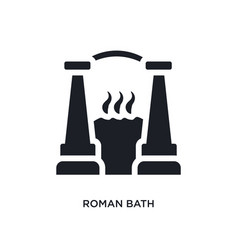 Black roman bath isolated icon simple element vector
