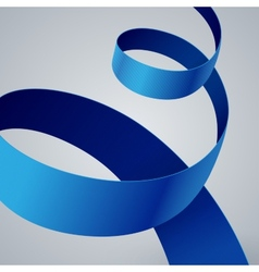 Blue fabric curved ribbon on grey background vector