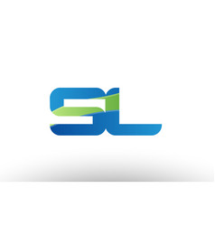 Blue green sl s l alphabet letter logo vector