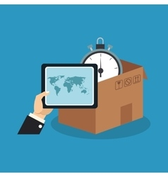 Box and chronometer of delivery concept design vector image