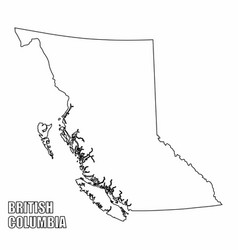 British columbia province outline map vector