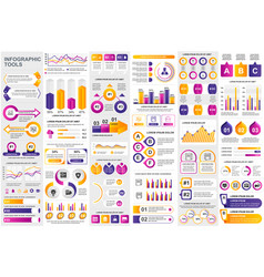 bundle infographic elements data visualization vector image
