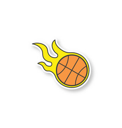 burning basketball ball patch vector image