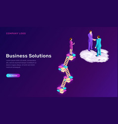 business solution and agreement isometric concept vector image