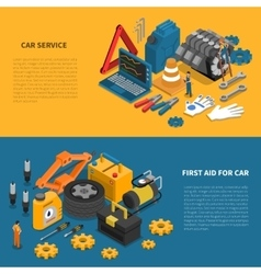 Car Service Tools Isometric Banner Set vector image