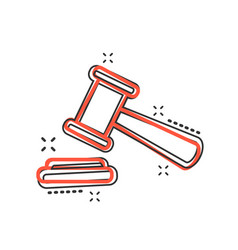 cartoon auction hammer icon in comic style court vector image