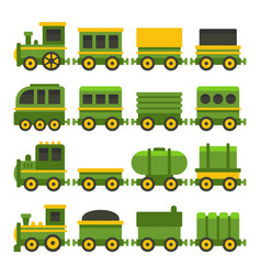 cartoon style green toy railroad train set vector image