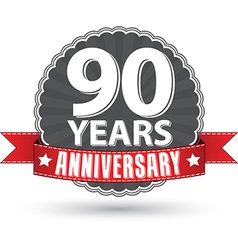 Celebrating 90 years anniversary retro label with vector image