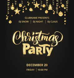 Christmas party poster template hand written vector