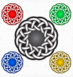 Circular logo template in celtic knots style vector