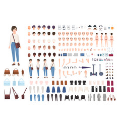 City woman character constructor nice girl vector