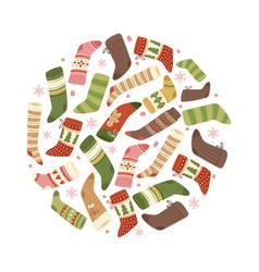 colorful christmas socks and stockings vector image
