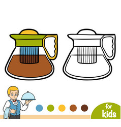 coloring book glass teapot vector image
