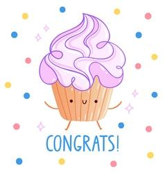 Congrats cupcake vector