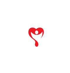creative blood donation person logo symbol vector image