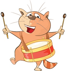 Cute Cat Drummer Cartoon vector