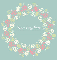 decorative circle frame with cute flowers vector image