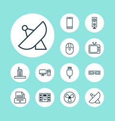 device icons set collection of antenna universal vector image
