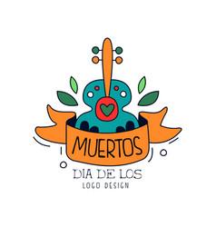 dia de los muertos logo design mexican day of the vector image