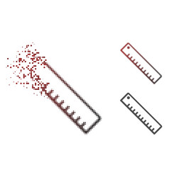 dissolved dot halftone length ruler icon vector image