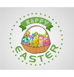Easter card with eggs and basket vector