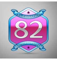 Eighty two years anniversary celebration silver vector