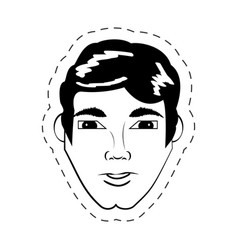 Face man expression facial black and white vector