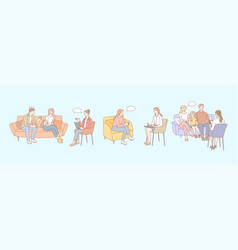 Family therapy psychology meeting session set vector