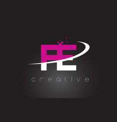 Fe f e creative letters design with white pink vector