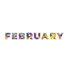 February concept retro colorful word art vector