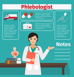 female phlebologist and medical equipment icons vector image