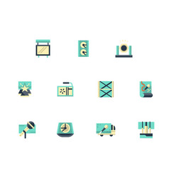 festival stage flat color icons set vector image