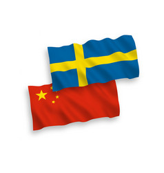 Flags sweden and china on a white background vector