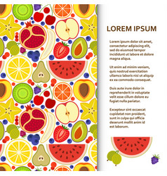 Flat poster or banner template with many fruits vector