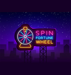 fortune wheel neon billboard fortune wheel vector image