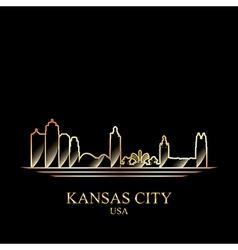 gold silhouette kansas city on black background vector image