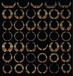 golden laurel wreath isolated on black background vector image