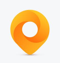 golden swirl map pin pointer modern design vector image